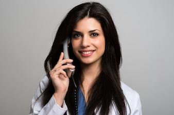 Infirmière, parler, téléphone
