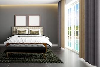 Intérieur de chambre de style scandinave de luxe avec poster maquette