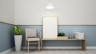 Intérieur de l'espace café et décoration murale - rendu 3d
