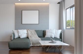 Intérieur de salon de style scandinave de luxe avec maquette affiche