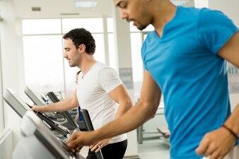 Jeunes hommes multiraciales dans la salle de gym