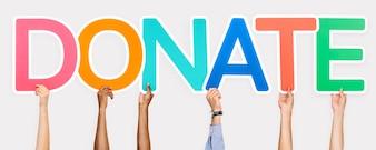 Lettres colorées formant le mot faire un don