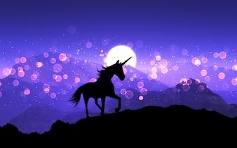 Licorne fantaisie 3D sur un paysage de montagne avec ciel coucher de soleil violet