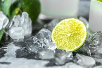 Lime fraîche boissons macro shot