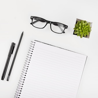 Lunettes; plante en pot; bloc-notes; stylo et crayon sur fond blanc