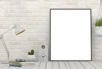 Maquette affiche à l'intérieur avec un décor dans la salle de séjour