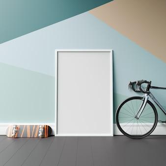 Maquette de cadre avec style de mur géométrique