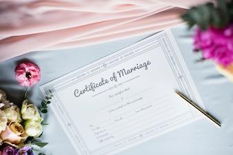 Papier de licence de certificat de mariage