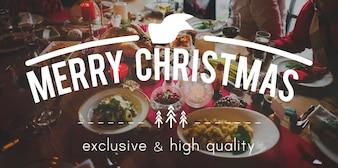 Rassemblement de nourriture de fête de joyeux Noël