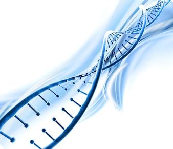 Rendu 3D d'un arrière-plan médical avec brin d'ADN