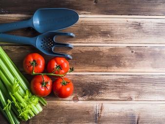 Tomates et céleri sur une table en bois avec une fourchette en plastique et une pelle