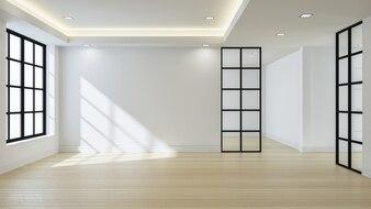 Vide intérieur de la chambre blanche moderne, rendu 3d