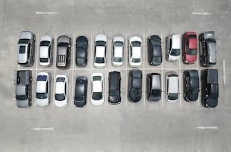 Vue aérienne de la vue de dessus de parking