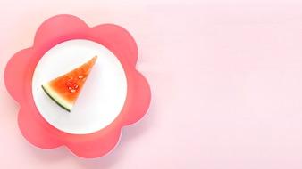 Vue élevée, de, pastèque, tranche, sur, floral