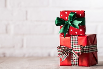 Wrapped presents on white background