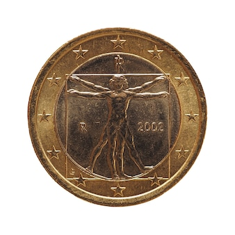 Moneta da 1 euro, unione europea, italia isolata su bianco