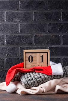 1 gennaio nel calendario del cubo di legno