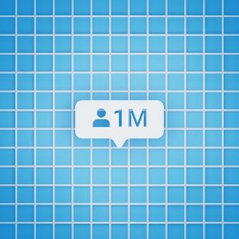 Simbolo di 1 milione di follower in stile 3d per post sui social media, dimensione quadrata