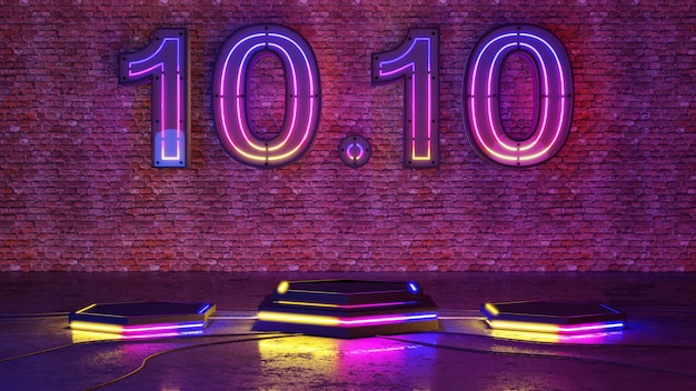 10.10 podio di bagliore di luce al neon sul fondo del muro di mattoni. rendering 3d