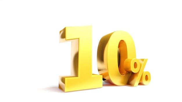 10% simbolo d'oro, rendering 3d