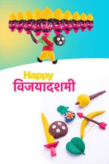 Ravana a 10 teste o ravan realizzati con argilla o pasta colorata - happy dussehra o vijayadashami o ayudh puja saluto