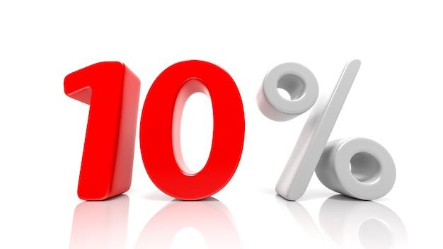 Simbolo blu del 10 percento isolato su priorità bassa bianca. rendering 3d
