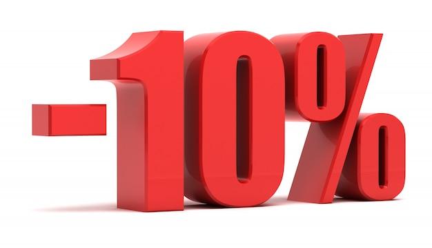 Sconto del 10 per cento di testo 3d