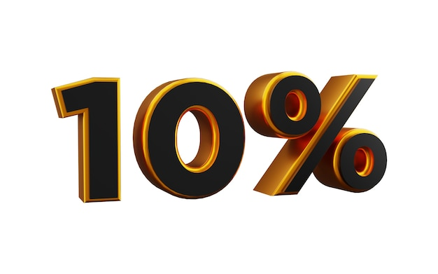 Illustrazione 3d dorata del 10 percento. illustrazione dorata del dieci per cento 3d.