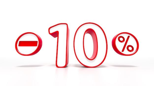 Simbolo rosso del 10 percento isolato su priorità bassa bianca. rendering 3d
