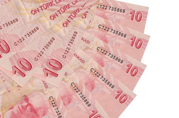 10 lire turche fatture si trova sfondo isolato con copia spazio stac