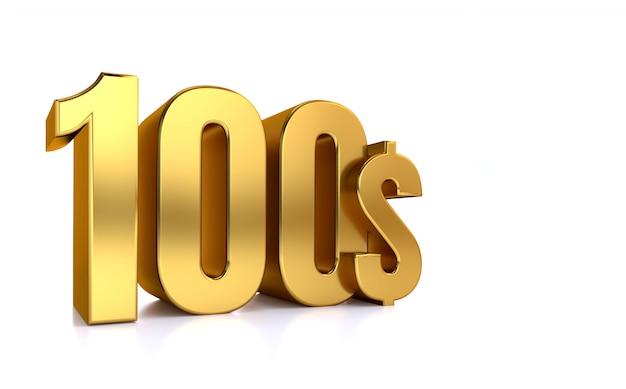 Simbolo del prezzo di 100 $ cento. il testo dell'oro 3d rende. su sfondo bianco