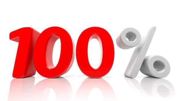 Simbolo blu di 100% isolato su priorità bassa bianca. rendering 3d