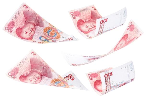 Banconote da 100 yuan che cadono insieme, renminbi o rmb, concetto di sorteggio, grande fortuna, pagamento, premio milionario
