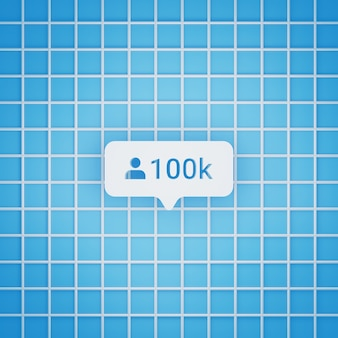 Simbolo di follower 100k in stile 3d per post sui social media, dimensione quadrata