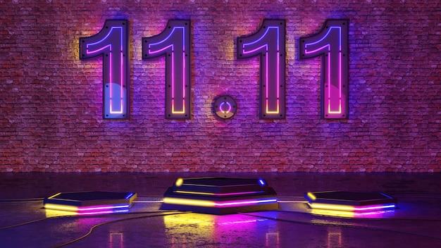 11.11 podio di bagliore di luce al neon sullo sfondo del muro di mattoni. rendering 3d