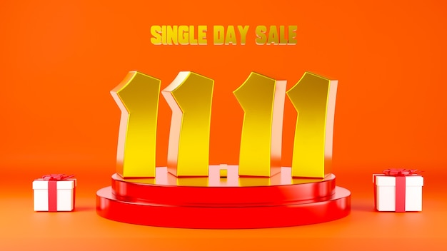 1111 vendita di un giorno banner 11 numero sulla scena del podio con illustrazione 3d della confezione regalo