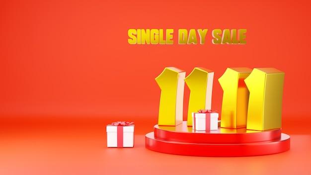 1111 vendita di un giorno banner 11 numero sulla scena del podio con confezione regalo illustrazione 3d