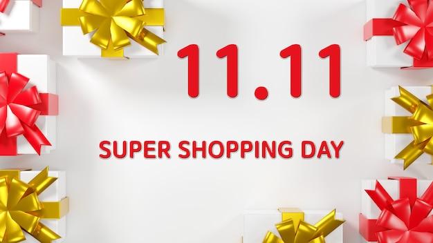 1111 vendita di un giorno banner confezioni regalo 3d rendering illustrazione