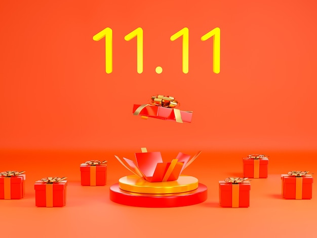 1111 vendita di un giorno banner con confezione regalo rossa sull'illustrazione 3d della scena del podio