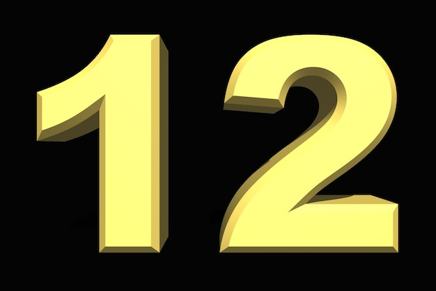 12 dodici numero 3d blu su sfondo scuro