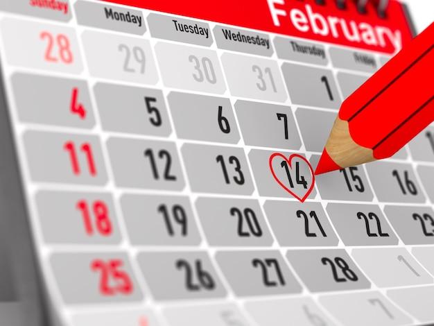14 febbraio. calendario su priorità bassa bianca. illustrazione 3d isolata