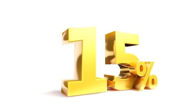 Simbolo dorato del 15%, rendering 3d