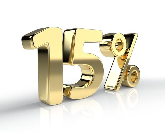 Simbolo blu del 15 percento isolato su priorità bassa bianca. rendering 3d