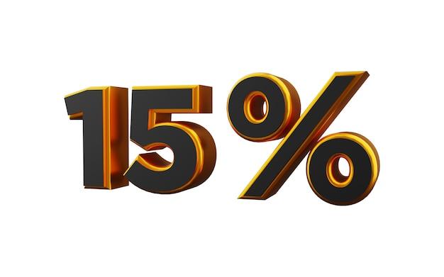 Illustrazione 3d dorata del 15 percento. illustrazione dorata del quindici per cento 3d.