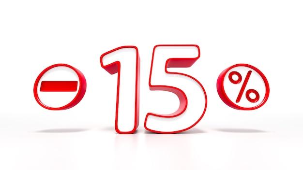 Simbolo rosso del 15 percento isolato su priorità bassa bianca. rendering 3d