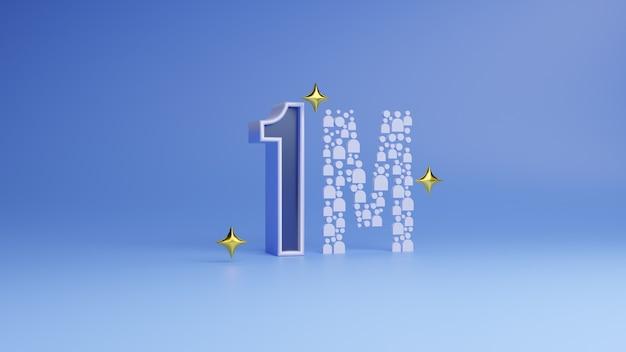 Logotipo di celebrazione di 1m o 100000 follower