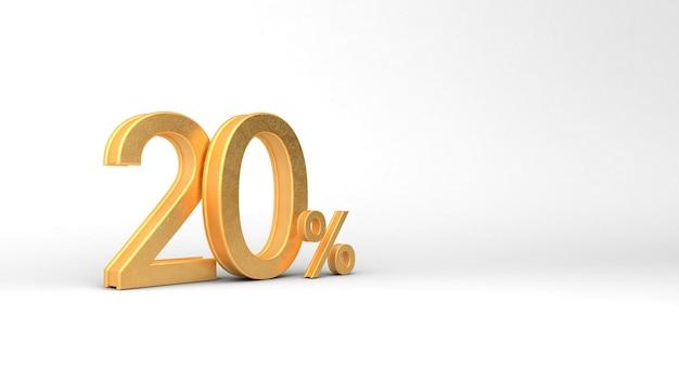 20 numeri d'oro con percentuale. rendering 3d, 3d, illustrazione 3d.