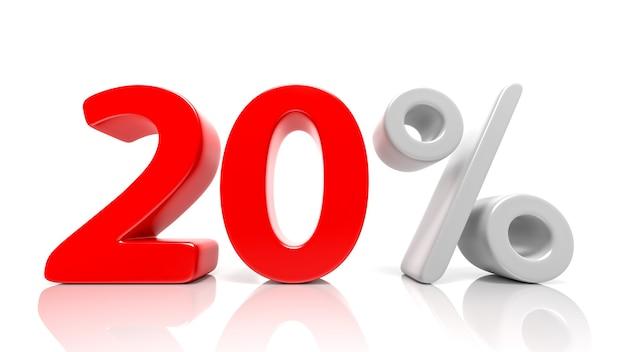 20 per cento simbolo blu isolato su sfondo bianco. rendering 3d