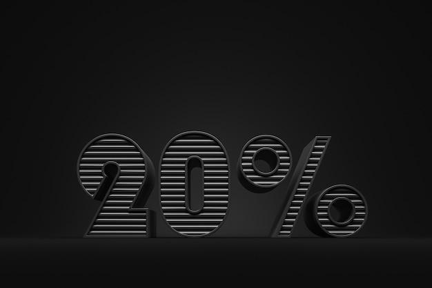 Etichetta di sconto del 20 percento fatta di lettere nere su sfondo nero concetto del venerdì nero
