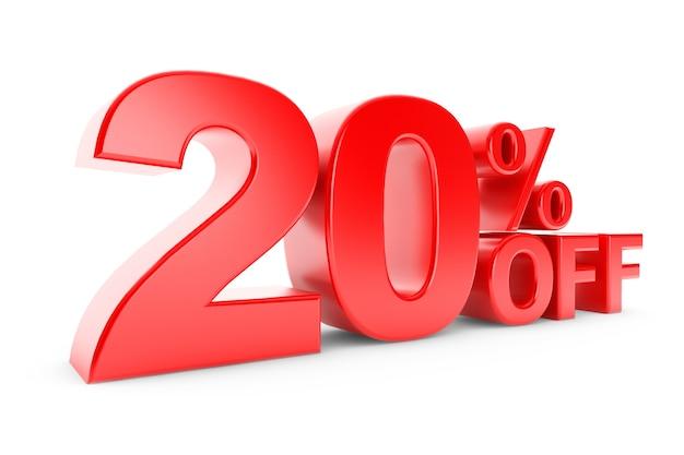 20% di sconto su sfondo bianco